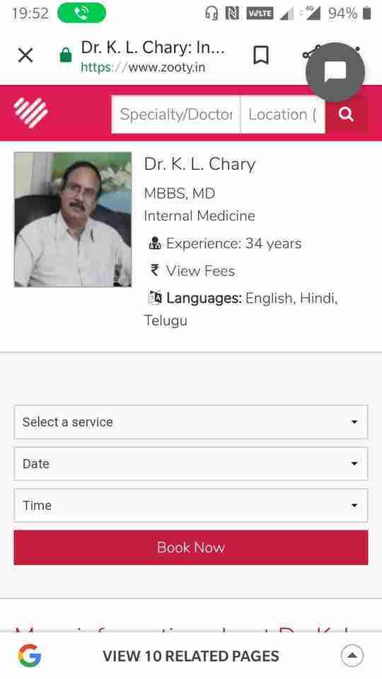 Dr. Kandala Chary's profile on Curofy