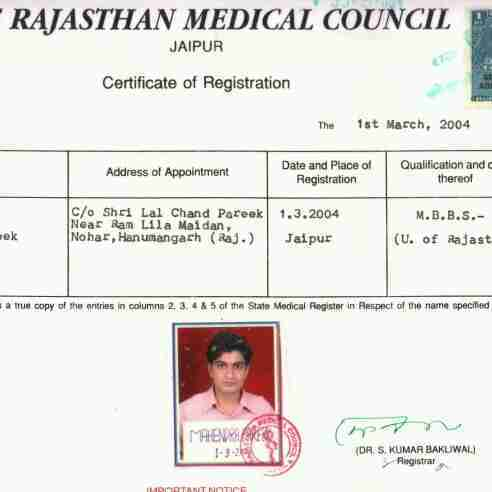 Dr. Mahendra Pareek's profile on Curofy